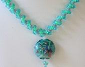 Lampwork Focal Aqua and Pink Summer Necklace