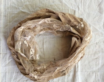 Lace and Cotton Infinity Scarf Lace Magnolia Mori Prairie Pearl Lagen