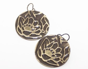 Flower Earrings Embossed Brass