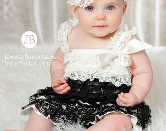 Black and Ivory romper, Petti lace romper,Baby girl Petti Romper, Petti Romper, Lace Romper, Romper, Bubble Romper,Baby lace romper.