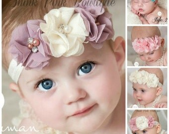 CHOOSE COLOR Baby Headbands,Baby girl Headband,Newborn Headband, Chic Flower Headband, Baptism Headband, Baby Headbands,Hair Bows.