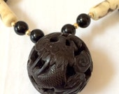 RESERVED FOR V  Chinese Carved Ball and Ox Bone Necklace With Dragon And Bird
