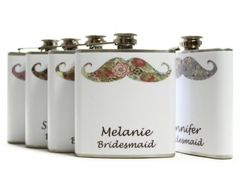 Personalized Bridesmaid Flasks // Floral Mustache Hip Flasks Set of 5
