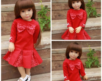 Bow Dress with 2 color pleated skirt