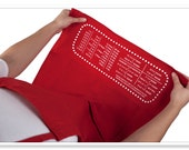 Personalized Cheat Sheet Baking Apron with Upside-down Measurement Conversion Chart.
