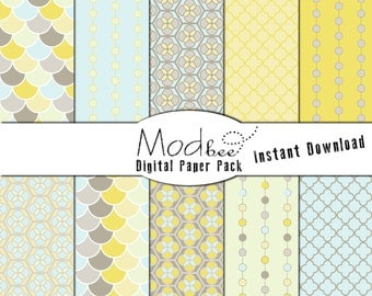 """Digital Paper 10 PACK - Geometric Baby Blue, Light Yellow and Soft Grey (300 dpi) -- 10 designs - 12"""" by 12"""" Instant Download (063)"""
