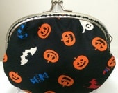 Medium Coin Purse - Halloween Orange And Black Pumpkin