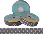 Gray with White Polka Dots Print - Fold Over Elastic - 5 YARDS