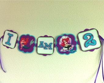 LITTLE MERMAID Ariel Birthday Party Highchair Banner - I AM #