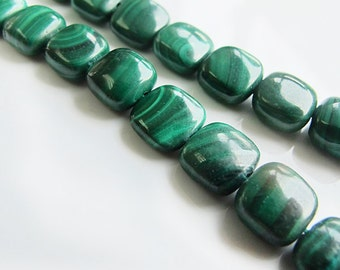 Square shape natural malachite beads, 8mm green color malachite gemstone beads, 8 inch strand