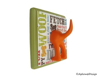 Dog Tail Leash Holder - Wasabi Green Dogcentric  - Personalize with optional Letter Tiles