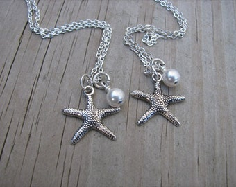 Two Starfish Necklaces- (2) necklaces- Bridesmaids/Best Friends Necklaces- with pearls- set of 2 necklaces