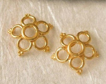 Vermeil Pretty Star Flower Bead Caps -  Style  10mm MB205V