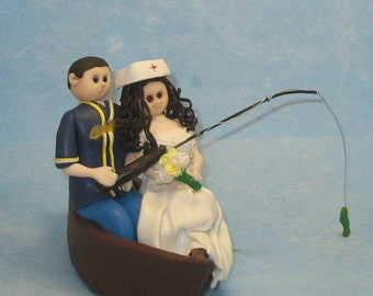 Items Similar To Fishing Wedding Cake Topper Fishing Boat Bride And Groom On Etsy