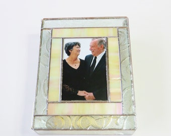Stained Glass Keepsake Memory Box 50th Wedding Anniversary Gold Family Picture Newborn Photograph Birth Announcement Handmade Made-to-Order