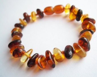 Baltic Amber Baby Teething  Bracelet. Multicolor.