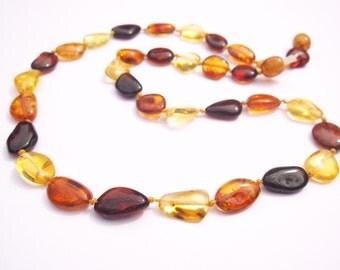 Multicolour  Baltic Sea Amber Necklace 18.1  inches
