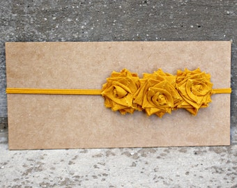 Headband, Skinny Elastic Headband with 3 Small Mustard Yellow Folded Fabric Flowers, made to size