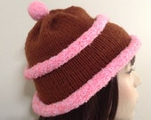 Hand Knit Hat-Chocolate Cupcake Hat, Pom-pom, women, teens, Whimsical Fun,Gifts for her