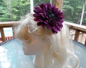 Purple Flower with Glitter Spider Hair Clip, Halloween Accessory