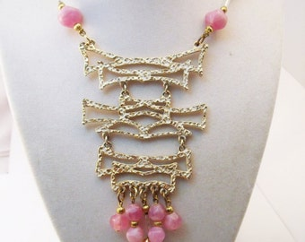 Vintage Large articulated pendant necklace with pink bead fringe