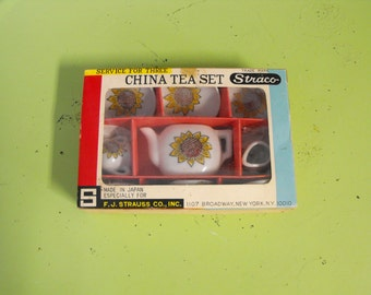 Vintage Child's China Tea Set Service for 3 Straco Sunflower Pattern