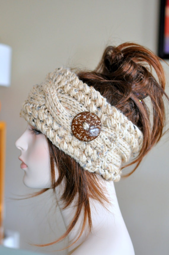 Earwarmer Cabled Ear Warmer Winter Crochet Headband by lucymir