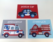 emergency vehicles trucks nursery art prints, police car firetruck ambulance firetruck, boys children set of 3