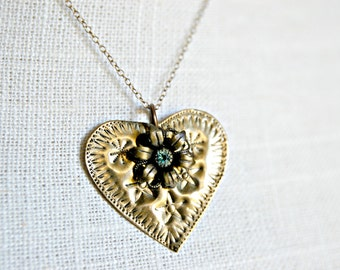 Antiqued Brass Necklace with Charm  - Repurposed Necklace - Upcycled Jewelry - Vintage Brass Heart Necklace - Repurposed Jewelry