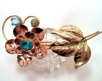 Large Vintage Sterling Gold Copper or Rose Gold Rhinestone Flower Brooch
