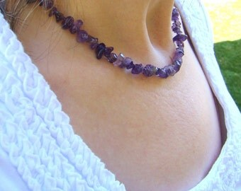 Beaded Purple Amethyst Necklace // Gemstone Jewelry // Beaded Necklace // Amethyst Jewelry // Gift for Her - BJ0023