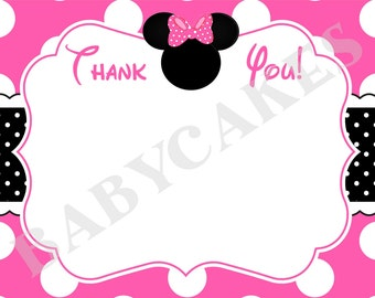 Minnie Mouse Birthday Thank You Card thank you note card Printable thank you note Instant download