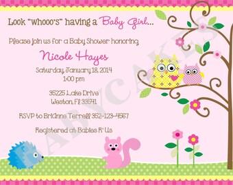 Owl Baby Shower Invitation Girl Owl Happi Tree -  DIY Print Your Own
