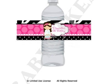 Spa Party Water Bottle Labels Wrap - DIY Print Your Own - choose your girl