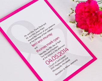 Shimmer Metallic or Matte Modern Fushia Hot Pink Magenta Ampersand Wedding Invitations Invitation Invites Invite Sample