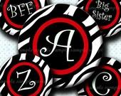 INSTANT DOWNLOAD Red Zebra Alphabet (628) 4x6 Digital Collage Sheet Bottle Cap Images for bottlecaps hair bows .. bottlecap images