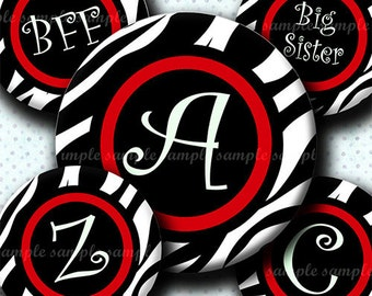INSTANT DOWNLOAD Red Zebra Alphabet (628) 4x6 Digital Collage Sheet Bottle Cap Images for bottlecaps hair bows .. bottlecap images