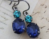 Vintage Earrings - Sapphire Blue & Blue Zircon September December Antique Silver - Bridal Bridesmaids
