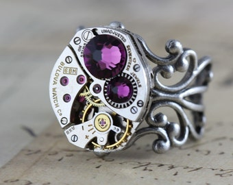 Unique Ring Steampunk Ring Purple Amethyst Ring Silver Ring Steam Punk Jewelry Watch Ring Filigree Ring Swarovski Crystal Ring Cocktail ring