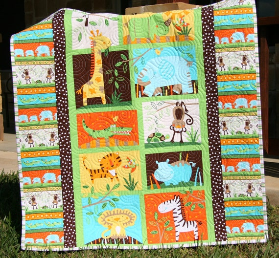 Jungle Baby Quilt Gender Neutral Crib Bedding By