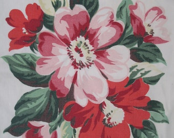 1950's Printed Tablecloth-Pink Floral