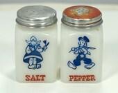 Vintage Dutch Milk Glass Salt and Pepper Shakers