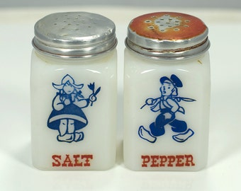 Vintage Dutch Milk Glass Salt and Pepper Shakers