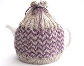 Lilac tea pot cover , Chevron Fair isle , Wool Tea Pot Cosy  , handknit cosy , hand knitted gift , valentine gift for her , choose colour