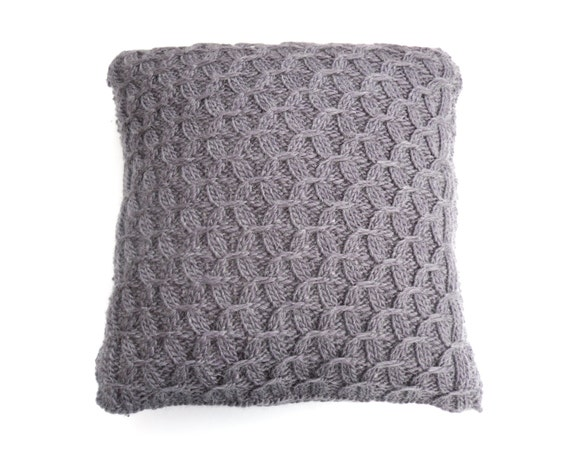 Mohair Cushion Knitting Pattern : Items similar to Hand knit Purple Cushion , Throw Pillow cover , wool cushion...
