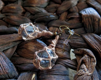 Miniature Fishing Float Earrings - Clear with Tan hemp - hand woven