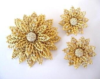 Vintage Rhinestone Brooch Set - Rhinestone Flower Brooch and Earrings Set