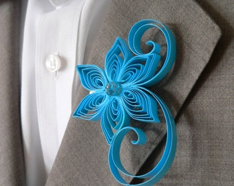 Ocean Blue Wedding Boutonniere for Groom and Groomsmen, Boutonnineres for a Destination Wedding Momentos