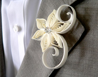 Ivory Boutonniere, Boutonniere Flowers, Ivory Buttonhole for Wedding, Ivory Wedding Boutonniere, Wedding Style for Groom, Groomsmen Flower
