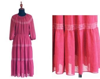 Vintage 1970s Japanese Bungundy Lace Linen Long dress size M